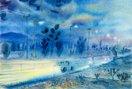 rural road: Watercolor landscape original painting colorful of evening atmosphere and emotion in blue background .