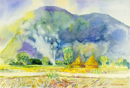 Watercolor landscape original painting colorful of mountain and straw with smoke in hill background. Stock Photo