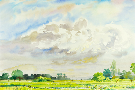 Watercolor landscape original painting colorful of rice field and cloud with mountain and emotion in blue background . Stok Fotoğraf