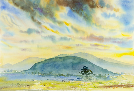 Watercolor original painting ,Landscape painting  colorful, illustration ,mountain, forest ,mountain range. Stock Photo