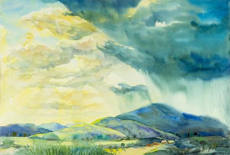 Pittura originale di paesaggio originale colorato di pioggia soleggiata in montagna e emozione in nube di fondo. Archivio Fotografico - 81360228