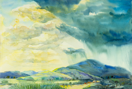 Watercolor landscape original painting colorful of sunny rain in mountain and emotion in cloud background. Stok Fotoğraf