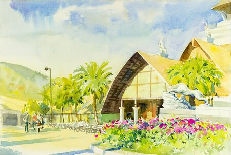 Watercolor landscape original painting colorful of night safari garden and emotion in blue background.