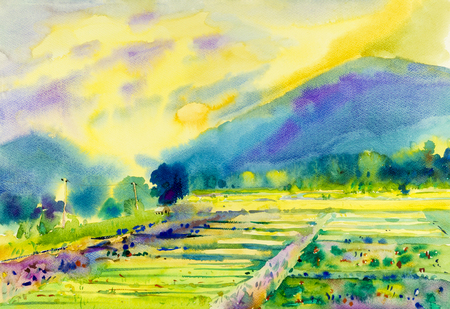 Watercolor landscape original painting of fields mountain and emotion in cloud background. Stock Photo