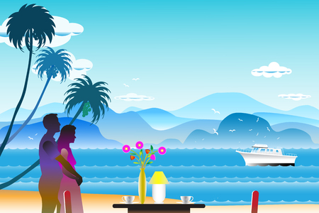 Vector illustration seascape background with the lovers near flowers on the table and water wave between archipelago, Blue color with yacht and the bird flying in sky cloud background at summer time. Illustration