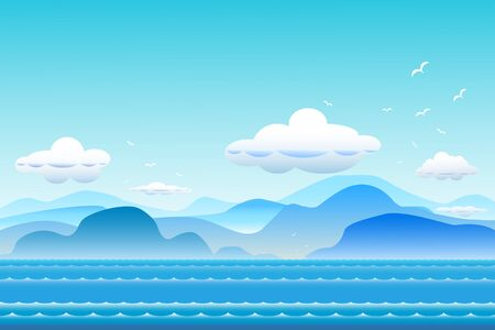 Vector illustration seascape background with mountain range and cloud  between archipelago, Blue color with water wave and the birds flying in sky cloud background at summer time.