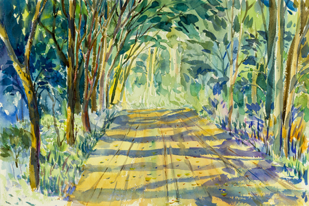 Painting watercolor landscape original colorful of tunnel trees in countryside and emotion green  leafl background.