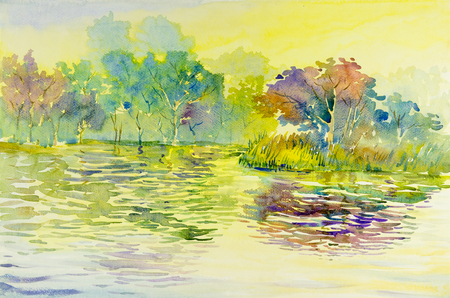 Watercolor landscape original painting colorful of reservoirs, forests  Island water and emotion in sky, cloud background