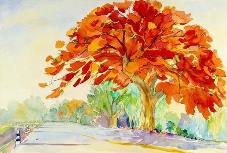 Waterverf landschap origineel schilderij rode kleur van pauw bloem en emotie in de wolk achtergrond.