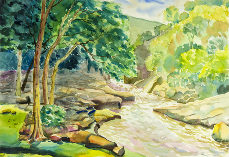Watercolor landscape original painting colorful of  river, mountain and green leaves in blue background. 免版税图像
