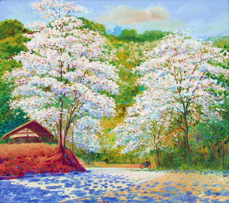 Oil color original landscape painting white color of crescent flower white in countryside and cloud on mountain background.