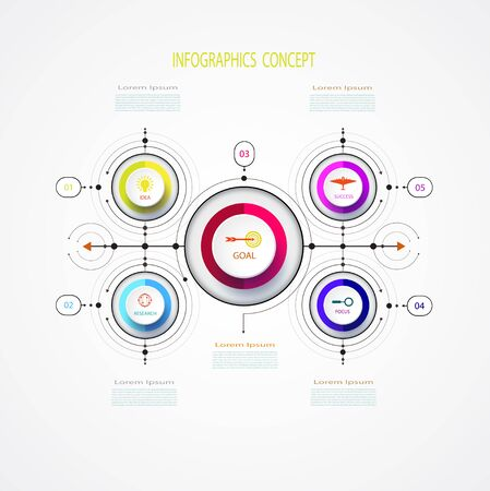 Vector infographic business design template with 3D,integrated circles.Business concept with options.For content,diagram,flowchart,steps,parts,timeline infographics,workflow layout,chart,illustration