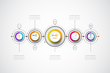Vector infographic business design template, integrated circles. Business concept with options. For content, diagram, flowchart, steps, parts, timeline infographics, workflow layout, chart,illustration Illustration