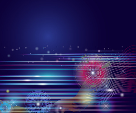 printed machine: Vector illustration colorful circle and light on blue sky of cyberspace, Abstract background of cyber and imagination to time machine in the future. Abstract space background with line and lighted.