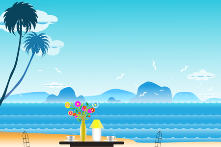 Vector illustration seascape background with coffee near Vases and flowers on the table between archipelago, Blue color with water wave and the birds flying in sky cloud background at summer time.