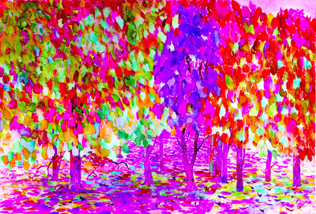 Abstract illustration watercolor painting landscape, colors of nature and emotion in colorful background
