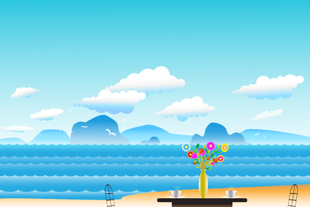 recess: Vector illustration seascape background with coffee near Vases and flowers on the table between archipelago, Blue color with water wave and the birds flying in sky cloud background at summer time.