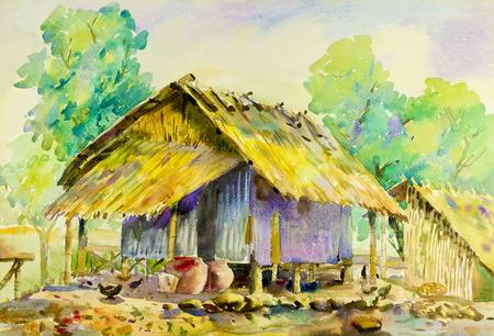 Paisaje original de la acuarela del arte de la pintura colorido del país y de la emoción de la cabaña en fondo del cielo. Foto de archivo