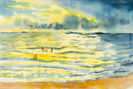 Watercolor seascape original painting  family holiday of reflective light on water colorful and emotion in cloud background