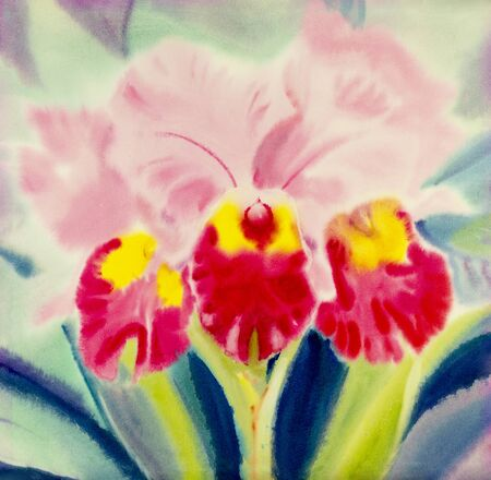 winter garden: Abstract watercolor original painting pink color of orchid flower and green leaves in blue background Stock Photo