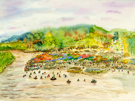 Watercolor painting original landscape colorful of festive summer celebration day at riverside in mountain and emotion in sky cloud background