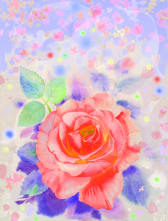 Watercolor painting original abstract colorful of roses flower and emotion in special floral background