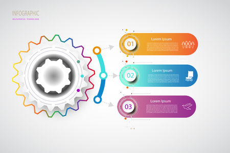 Integrated Business Infographics timeline Design Template 3 step with options For content, flowcharts, flowcharts, steps,dimensions, timelines,layout, magazine, workflow, charts, illustrations