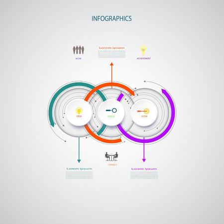 Vector Infografiken Entwurfsvorlage, integrierte Kreise. Geschäftskonzept mit Optionen. Leerstelle für Inhalt, Geschäft, infographic, Diagramm, Prozessdiagramm, Zeitachse, digitales Netz, Flussdiagramm Vektorgrafik