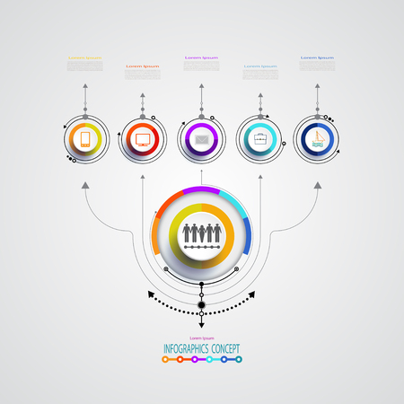 Vector infographics design template, integrated circles. Business concept with options. Blank space for content, business, infographic, diagram, process diagram, timeline, digital network, flowchart Illustration