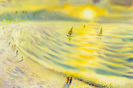 Abstract watercolor seascape  original  painting on paper colorful of sailing holiday and emotion in solar yellow evening background