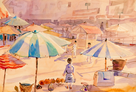 Watercolor painting original colorful of market town in the morning and emotion in abstract background