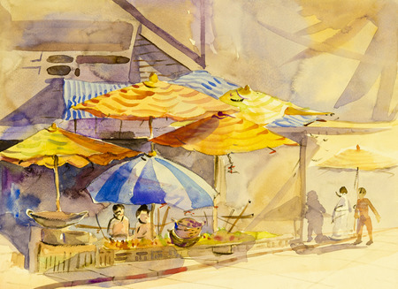 Watercolor landscape original painting colorful of family life in market and emotion in abstract  background