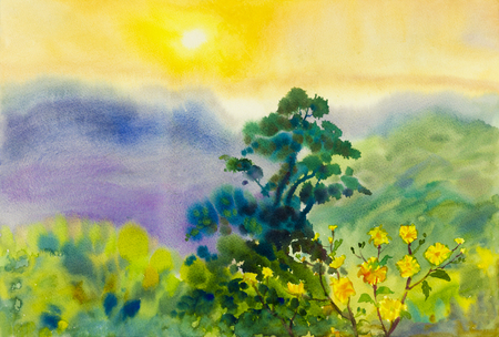 Painting art watercolor landscape original  colorful of mountain and emotion in sky and sun background Stock Photo