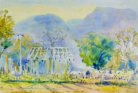 Watercolor painting original landscape  colorful of buffalo paddock in rural areas in mountain sky and cloud background