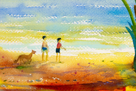 Watercolor seascape original  painting colorful of boy, girl and dog walking at the beach and emotion in sea  wave background