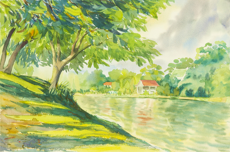 Watercolor painting original landscape green tree river with  reflection in water of the house and sky cloud background.