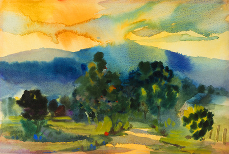 Watercolor landscape original painting colorful of mountain and sunset with emotion in sky, cloud background