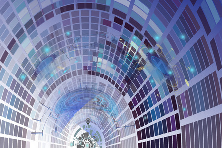 Wind tunnel technology computer digital telecom,Technological energy on catchy dimension of cyberspace,Abstract vector illustration electronic interface the future concept, modern art background.
