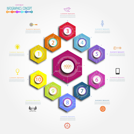 Info-graphics abstract template hexagon 10 option or step, business concept. Blank space for content, business, info-graphic, diagram, process, template, timeline, digital network, flowchart, info. Vector illustration. Illustration