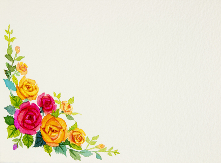 Painting flowers art watercolor pattern original colorful of rose  and emotion in paper white background  postcard congratulation Stock Photo