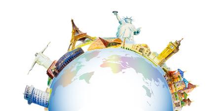 Weltreise und Attraktionen . Berühmte Sehenswürdigkeiten der Reise zusammen gruppiert . Aquarell gezeichnete Malerei gezeichnete Illustration auf Weltkarte in der weißen Hintergrund . Vektor-Illustration . Isoliert Standard-Bild - 95881216