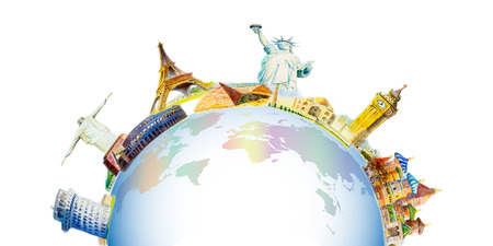 World travel and sights. Famous landmarks of the world grouped together. Watercolor hand drawn painting illustration on world map in white background. Copy space, isolated