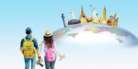 Man and woman photo tourist. World travel and sights. Famous landmarks of the world grouped together. Watercolor hand drawn painting illustration on world map in blue background. Copy space, isolated