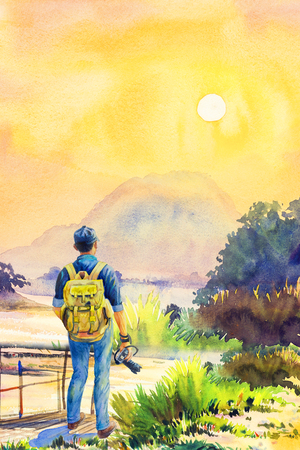 One man backpack Traveling on holiday. Watercolor lanscape painting yellow, orange color of sunset on mountain in sky and cloud background. Hand paint illustration, beauty nature summer season.