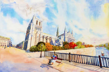 Street view, Notre Dame, famous in Paris France. Watercolor painting colorful illustration landscape beautiful season in sunny and sky background. modern business city. Landmark of the world. Stock Photo