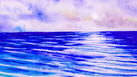 Watercolor seascape original painting colorful of blue sea view, wave, reflection and pink sky,cloud background in the morning bright, nature beauty season. Painted impressionist, abstract images. Stock Photo