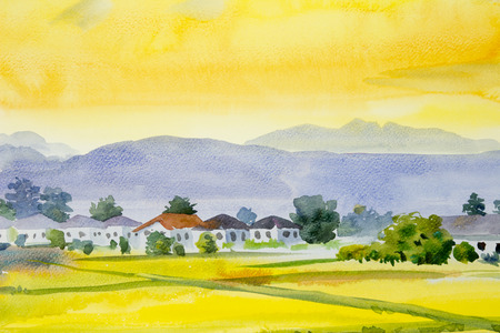 Watercolor landscape original painting on paper colorful of village and rice field in the morning, with yellow sky view background, Hand painted illustration beauty nature summer season in Thailand. 写真素材