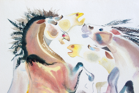 Abstract watercolor paintings of a horse herd on paper. Modern art Impressionist emotion, white background Stock Photo