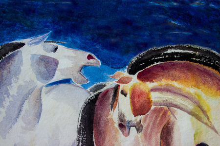 Abstract watercolor paintings the brush stroke colorful of horse couple on paper. Modern art Impressionist emotion, blue color background. Independent style. Stock Photo