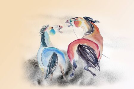 Abstract watercolor paintings colorful of a couple horse on paper and freely emotion concept in landscape sky background. Modern art Impressionist emotion. Pastels texture illustration, copy space